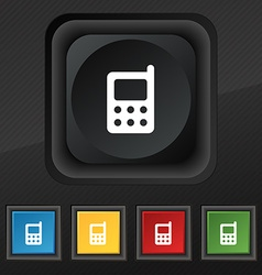 Mobile phone icon symbol set of five colorful vector