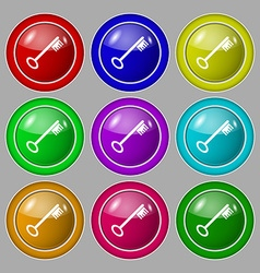 Key icon sign Symbol on nine round colourful vector image