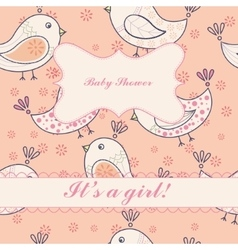 Vintage birds baby shower girl vector image