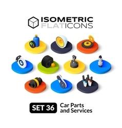 Isometric flat icons set 36 vector image