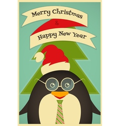Merry christmas greeting card with cute penguin vector