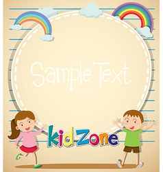 Border design with girl and boy vector image