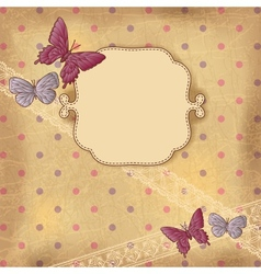 Vintage butterflies dots background vector