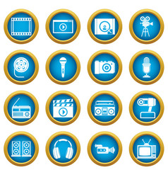 audio and video icons blue circle set vector image
