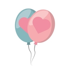 Balloons blue and pink with heart design vector