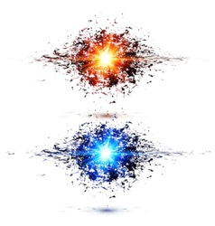 Blue and red techno style explosions vector image
