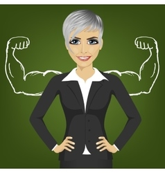 Business woman with strong arm muscles for success vector