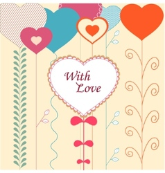 Card with decorative hearts vector image