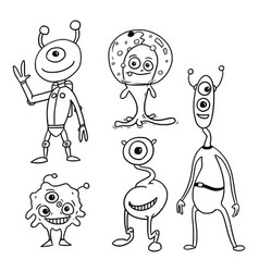 cartoon set 05 of friendly aliens astronauts vector image