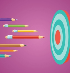Colored pencils flying at the target vector image vector image