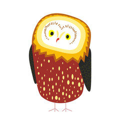 Cute owl with tick plumage and tiny beak vector