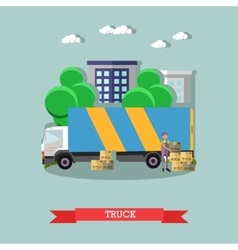 Delivery truck poster in flat style vector