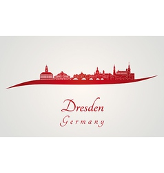 Dresden skyline in red vector