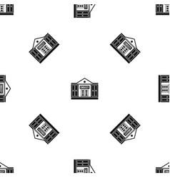 Embassy pattern seamless black vector