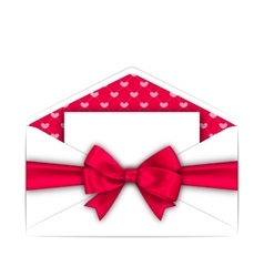 Envelope with clean card and pink bow ribbon for vector