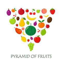 fruits random piramyda on white vector image