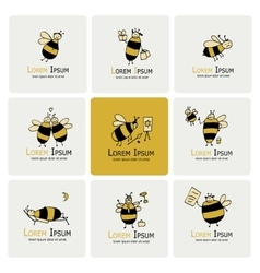 Funny bee collection sketch for your design vector