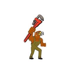 Hawk mechanic pipe wrench cartoon vector