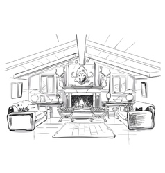 home interior with sofa and fireplace vector image
