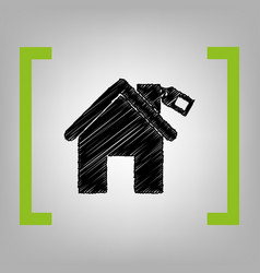 Home silhouette with tag black scribble vector