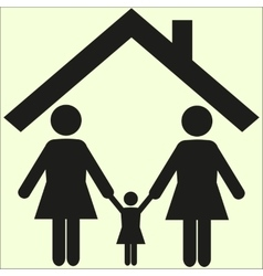 Lesbian family couple with daughter girl kid vector image