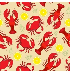Lobster and crab with lemon and dill vector image
