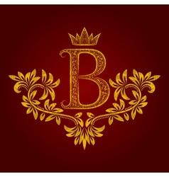 Patterned golden letter B monogram in vintage vector image vector image