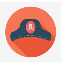 Pirate iconcaptain hat Flat design vector image