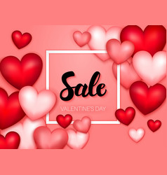 sale valentines day hearts banner vector image vector image