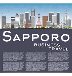 Sapporo skyline with gray buildings blue sky vector
