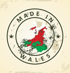 Stamp with map flag of Wales vector image