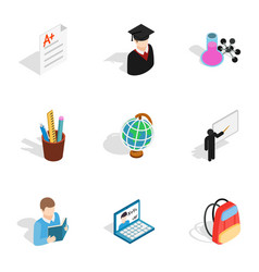 stationery icons isometric 3d style vector image vector image