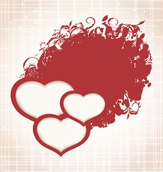Valentines Day grunge background with hearts vector image
