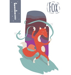 Vertical of fox with colorful background dancing vector