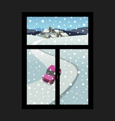 Winter landscape outside the window vector image