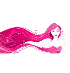 Woman with hearts in her hair vector image