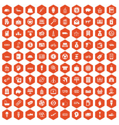 100 economy icons hexagon orange vector image vector image