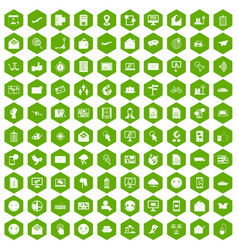 100 mail icons hexagon green vector