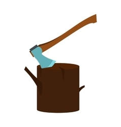 Stump with axe icon flat style vector image