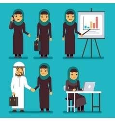 Arab businesswoman characters set saudi vector