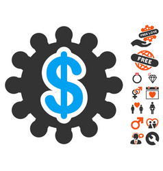 Financial options gear icon with valentine bonus vector