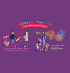 Fireworks safety infographic wrong counterfeit vector