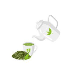 Teapot mug of green tea and leaf tea set vector