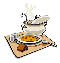 Soup with bread vector