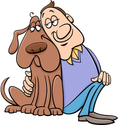 Dog with his owner cartoon vector