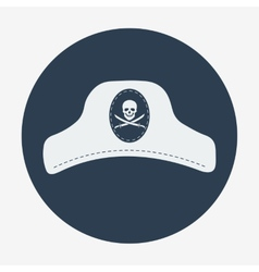 Pirate iconcaptain hat flat design vector