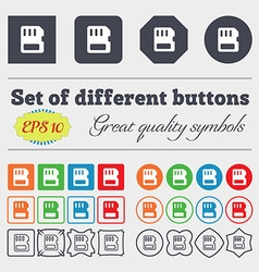 Compact memory card icon sign big set of colorful vector