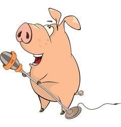 pig-musician cartoon vector image