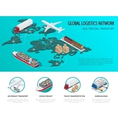 Global logistics network flat 3d isometric vector