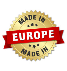 Made in europe gold badge with red ribbon vector